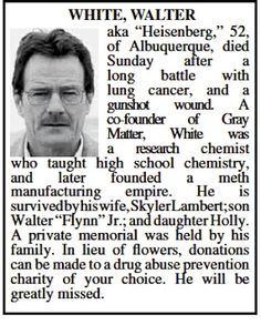 Albuquerque, NM obituary for 'Breaking Bad' Walter White