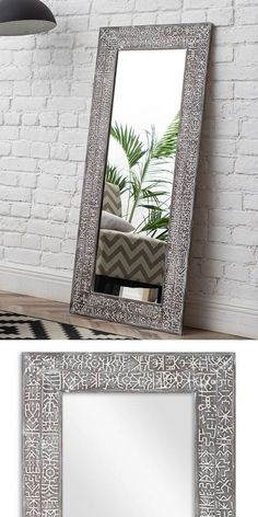 Frame dimensions: 27.6x55.9 inches (70x142 cm). Mirror dimensions: 18.9x47.2 inches (48х120 cm #ETNIQ #bam_mirror Large Wooden Mirror, Entry Mirror, Traditional Mirrors, Custom Mirrors, Boho Home, Décor Boho, Graphic Patterns, Famous Artists, Pattern Making