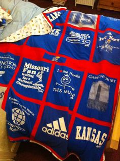 My Jayhawk Quilt - made with Kansas Tshirts and fabric.