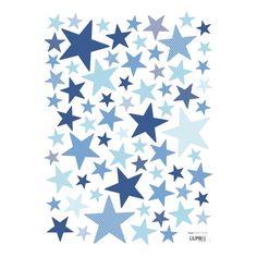 Kinderzimmer sterne blau  Kinderzimmer Wandsticker Sterne blau/grau 68-teilig