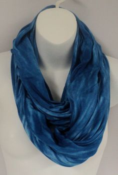 Royal blue tie dye infinity scarf in by qualicumclothworks on Etsy