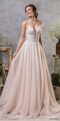 amelia sposa fall 2018 bridal spaghetti strap deep sweetheart neckline heavily embellished bodice romantic blush a  line wedding dress corset back chapel train (15) mv -- Amelia Sposa Fall 2018 Wedding Dresses