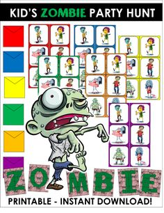 In this zombie party game kids must hunt down all the hidden zombies to discover where the treasure is hidden - perfect for a zombie themed birthday or Halloween party!