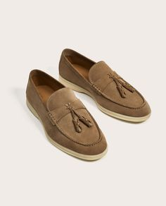 5fe4ad004fa Image 1 of SPORTY LEATHER LOAFERS from Zara Leather Loafer Shoes, Loafers  Men, Zara