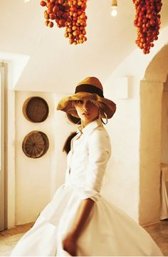 Straw hat with white dress
