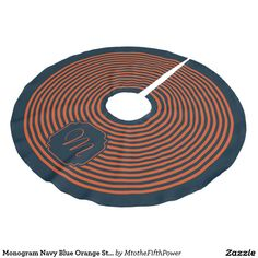 Monogram Navy Blue Orange Striped Christmas Brushed Polyester Tree Skirt
