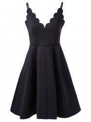 Fashionable Sleeveless Petaling V-Neck Backless Spaghetti Strap Dress For Women