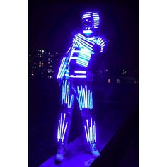 HolleywebTM Silver Luminous LED Robot Costume Multi-color for Night... ($1,699) ❤ liked on Polyvore featuring costumes, silver halloween costume, party halloween costumes, party costumes, blue costume and colorful costumes