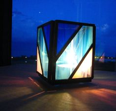 Blue and White Hand-Crafted, Stained Glass Votive Candleholder with a Diagonal Design by Krista