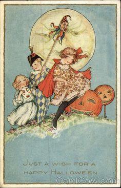 Children and Jack O' Lanterns vintage Halloween postcard illustrated by Samuel L. Schmucker.