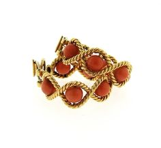 1960s 18K Gold Coral Hoop Earrings