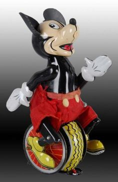 Lot # : 1394 - Walt Disney Linemar Mickey Mouse Unicyclist Toy.