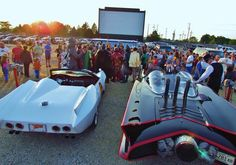 Volo Auto Museum and Super Hero friends turned up for the Superman movie at the McHenry, IL outdoor.  www.volocars.com