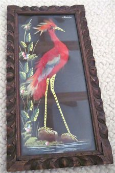 mexico feather art vintage 1940   1940s--MEXICAN FOLK ART--REAL BIRD FEATHERS PICTURE-HAND CARVED FRAME ...