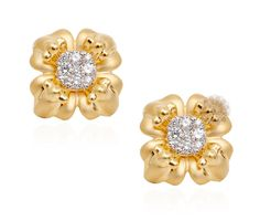 Vogue Crafts & Designs Pvt. Ltd. manufactures Gold and Diamond Flower Stud Earrings at wholesale prices.