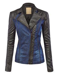 LL WJC1014 Womens Fake Leather-based Biker Denim Jacket L BLACK_BLUE