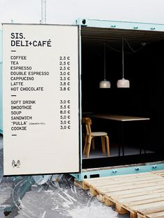 pop-up cafe in a shipping container! Menu Restaurant Design, Café Restaurant, Modern Restaurant, Food Trucks, Pop Up Cafe, Container Shop, Container Design, Coffee Container, Cargo Container
