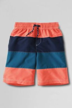 Boys' Tri Colorblocked Swim Trunks from Lands' End   NAVY GREEN AND BLUE NOT ORANGE