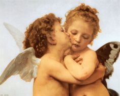 michael angelo's Cherub Angels | The First Kiss, c.1873 (detail)