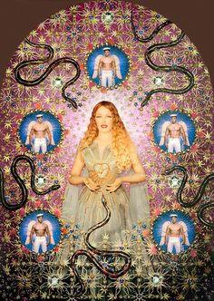 'the virgin with the serpents', pierre et gilles, 2008 (kylie minogue in jean paul gaultier) Kylie Minogue, Jean Paul Gaultier, Rotterdam, Art Actuel, La Madone, Foto Art, Museum Of Fine Arts, French Artists, Virgo
