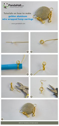 #Beebeecraft tutorials on how to make golden #aluminum #wirewrapped #hoopearrings