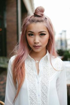 Lovely Pastel Pink Hairstyle for Asian Girls