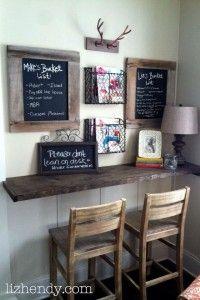 DIY Desk, Floating Desk, DIY Chalk Boards, Bucket Lists, Mail Station, Writing Nook