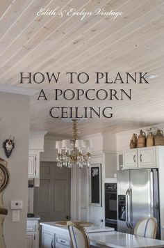 "How to Plank a Popcorn Ceiling - used Lowe's pine plank tongue and groove paneling 8' x 3 9/16"" x 5/16"". Nail planks perpendicular to the ceiling joists, so the nails go into the joists. Lots of good detailed instructions!"