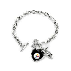 Made by Aminco. Sports Fan Shop, Nfl Sports, Pittsburgh Steelers, Special Gifts, Football, Charmed, Bracelets, Silver, Jewelry