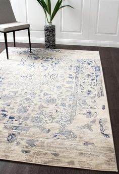 Shop for transitional and distressed style rugs. Rugtastic offers modern rugs that are dispatched in business days from Sydney and Melbourne. Dark Blue Rug, Blue Grey, Shed Colours, Blue Furniture, Transitional Decor, Transitional Kitchen, Rustic Rugs, Oriental Design, Trendy Colors