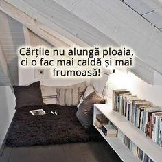 Cartile nu alunga o zi ploioasa, ci o fac mai frumoasa, o fac mai calda. Bookshelves, Pillows, Home Decor, Ideas, Bookcases, Decoration Home, Room Decor, Book Shelves, Cushions