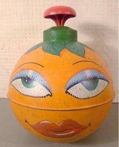 "RARE Vintage 50's Chein ""Lady Orange"" Anthropomorphic Spinning Tin Litho Top | eBay"