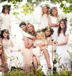 Mother courage und her kinder. Kate Moss sits among nymphs for Mario Testino in Vogue US September, 2011.