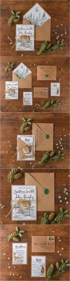 Winter Wedding Invitations with wooden tag ! #winterwedding #weddingideas