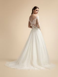 A-line Tulle/Rose Net Wedding Dress with Illusion Long Sleeves and Illusion Bateau Neck Moonlight Wedding Dress Style Wedding Dress Backs, Wedding Dress Sleeves, Wedding Dress Styles, Dresses With Sleeves, Lace Sleeves, Beaded Wedding Gowns, A Line Bridal Gowns, Spring Wedding Inspiration, Moonlight