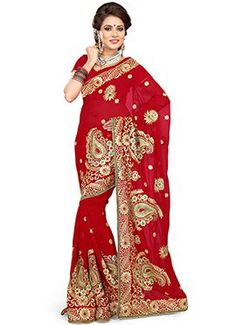 Red Paisley Embroidered Saree