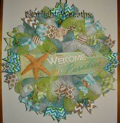Welcome to Paradise Burlap and Mesh Wreath by StarlightWreaths