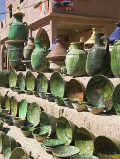 Pottery for Sale, Amazrou, Draa Valley, Morocco Photographic Print by Walter Bibikow at Art.com