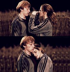 This part is one of my favorites. Any part where Hermione and Ron are being cute, actually. The wedding scene, Ron and Hermione run to each other first, before Harry... that just chokes me up