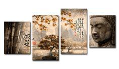 lH_Xl04_2018.4_N Cuadro Paisaje con Buda y letras Japonesas Naranja
