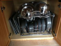 Pots and pans organizer, got from Lowes.  They actually pull out.