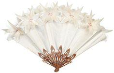 """Pop-up Syjoli #Eventail, la feuille en brocard de #soie blanc à décor de cinq fleurs stylisées s'épanouissant sur le grand tour quand on ouvre l'éventail. Elles portent en guise de pistils des pierres roses. Monture en noyer gris découpé et repercé. Signé, daté et titré sur deux bouts: Création LG (Sylvain Le Guen) 2006. H.t.: 12"""" ½ - 34 cm Vendu aux #encheres le 10/10/11 par Rossini SVV"""