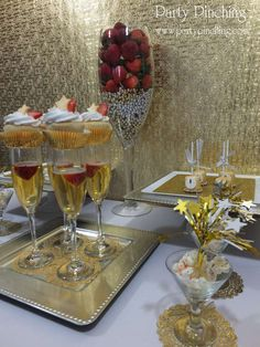 Gold New Year's party food and treats!  See more party planning ideas at CatchMyParty.com!