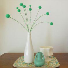 Mint green pom pom flower arrangement WITH White by berryisland, $39.00