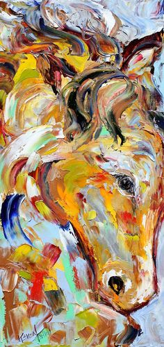 Original oil painting Horse Equine Portrait Palette knife modern impressionism impasto fine art by Karen Tarlton