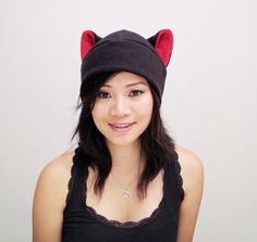 Black Cat Hat - Cat Toque Hat - Kitty Cat Hat - Fleece Cat Hat - Cat Ears - Cat Cosplay - Anime Cat Hat - gift under 20 - gift for her by QWear01 on Etsy https://www.etsy.com/listing/197485957/black-cat-hat-cat-toque-hat-kitty-cat