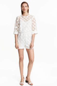 Embroidered organza playsuit | H&M
