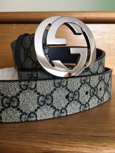 3d3d222d029 New Gucci Belt BLUE GG Imprime Guccissima SILVER GG Buckle sz 95 fits 32-34   fashion  clothing  shoes  accessories  mensaccessories  belts (ebay link)