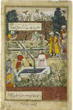 This painting from the Baburnama, or history of Babur, is the right half of a double-page composition (the left-hand page is Museum no. IM.2...