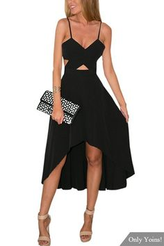 If i had the courage!!! Black Plunge Wrap Front Cut Out High Low Hem Maxi Dress -YOINS